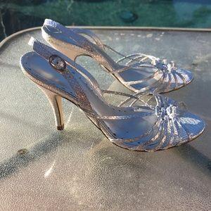 BCBG silver strap high heels size 6.5 e7 new $98